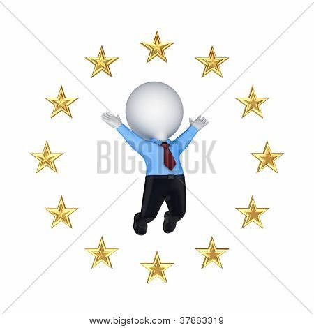 European Union symbol and happy 3d small person.