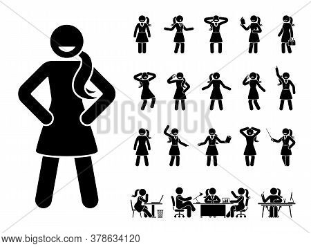 Stick Figure Office Woman Standing In Different Poses Design Vector Icon Set. Happy, Sad, Surprised,