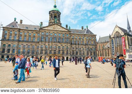 Amsterdam, Netherlands - May 23, 2018: The Royal Palace of Amsterdam in Amsterdam, Netherlands