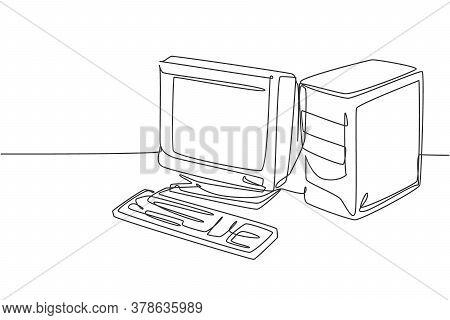 Single Continuous Line Drawing Of Of Retro Old Classic Personal Computer Processor Unit. Vintage Cpu