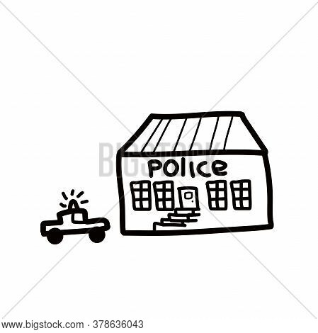 Police Department Building Linear Icon. Thin Line Illustration. Contour Symbol. Vector Isolated Outl