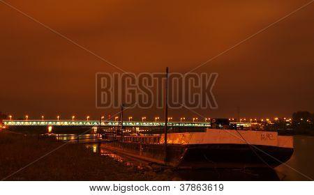 The barge on the Vistula River, Warsaw, Poland