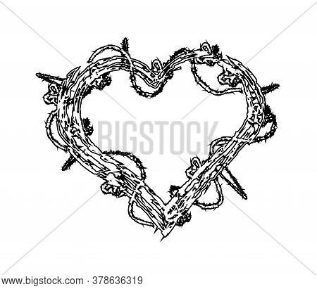 Heart With Thorns And Flowers On A White Background. Vector Illustration.