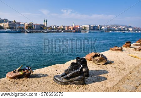 Budapest / Hungary - October 20, 2018: The Shoes On The Danube Bank Memorial In Budapest, Hungary, D
