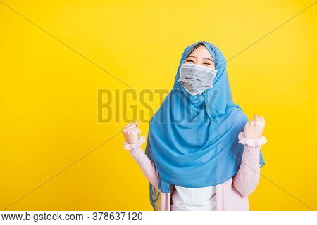Asian Muslim Arab, Portrait Of Happy Beautiful Young Woman Islam Wear Veil Hijab And Face Mask Prote