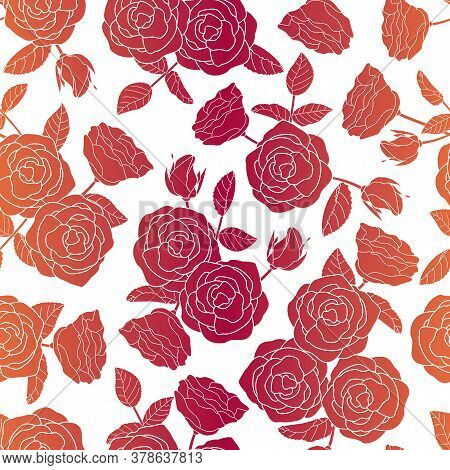 Vector Roses Floral Silhouettes In Red Orange Ombre On White Background Seamless Repeat Pattern. Bac