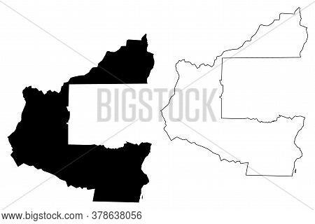 Santa Cruz City (plurinational State Of Bolivia, Andres Ibanez Province) Map Vector Illustration, Sc