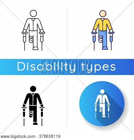 Leg Amputee Icon. Disabled Man With Crutches. Rehabilitation For Handicapped Person. Patient With Ba