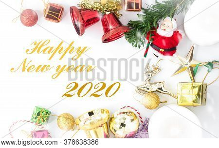 Merry Christmas And Happy New Year With Festive Decoration And Text - Happy New Year ,copy Space,top