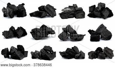 Set Of Charcoal  Isolated On White Background,natural Wood Charcoal.