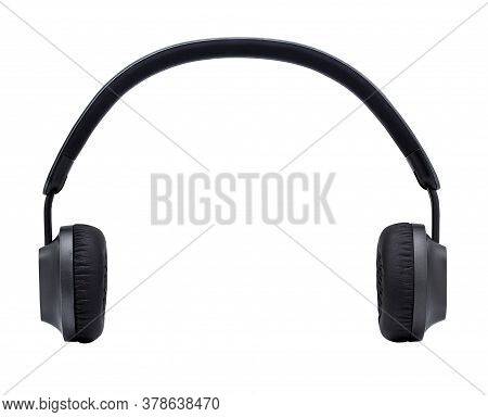 Black Headphone Isolated On White Background With Clipping Path,closeup