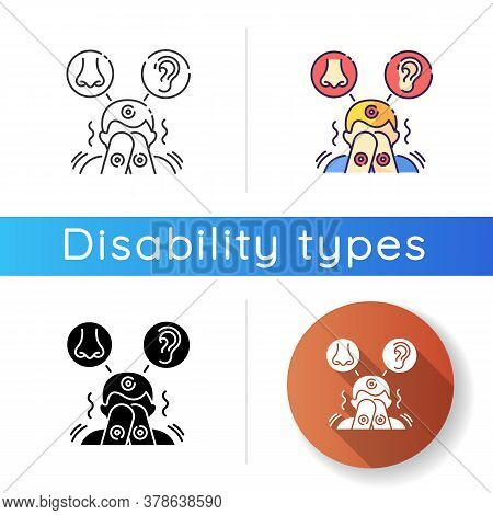 Sensory Sensitivity Icon. Trigger For Perception. Physical Response To Smell And Noise. Irritated Pe