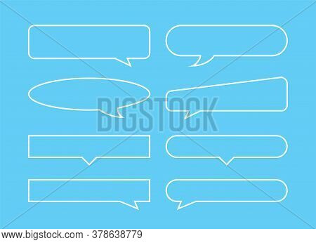 Speech Bubble Horizontal Outline Shape Isolated On Blue, Speech Balloon Sign Of Communication Symbol