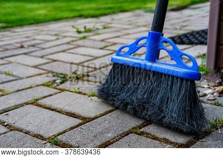 Plastic Brush With Black Fine-bristled Bristles For Cleaning Dust On The Floor And Street Paths From
