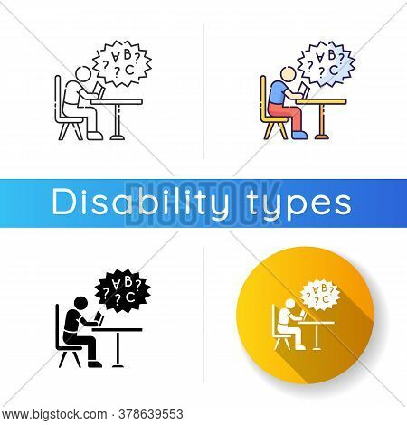 Dyslexia Icon. Difficulty With Reading Book. Child With Problem In Education. Struggle With Studying
