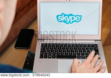 Skype Is Used For Business Meeting On Laptop By Man. An Illustrative Editorial Image. San Francisco,