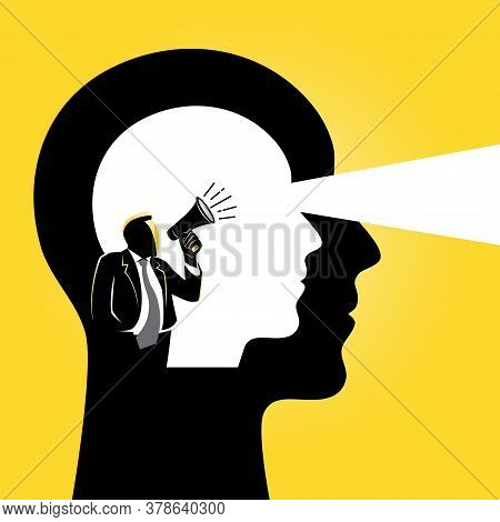 An Illustration Of Visual Representation Of Intuition, Voices On Brain