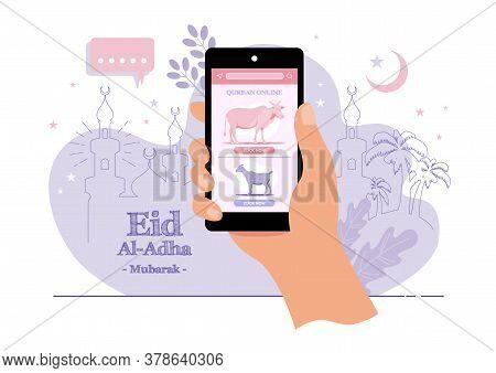 An Illustration Of Eid Al Adha Sacrifice Online Concept. Kurban Online Translates To Online Sacrific