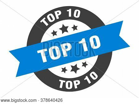 Top 10 Sign. Top 10 Blue-black Round Ribbon Sticker