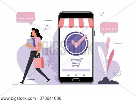 Online Shopping Vector Concept. Young Girl With Shopping Bags Walking Away On The Background Of A Mo