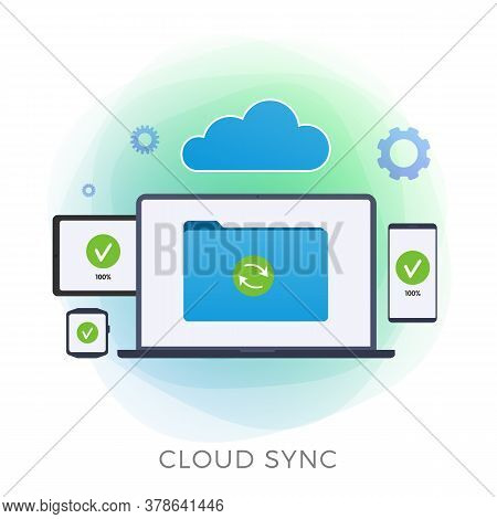 Cloud Sync Flat Vector Icon. Personal Data Backup, Cloud Computing Storage Network Connected And Syn