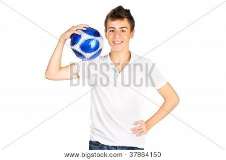 Smiling Teenager Boy With Soccer Ball  Over White Background