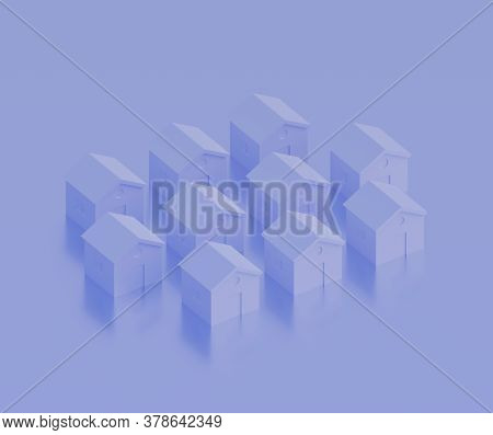 Small Violet Houses, Futuristic Town Block Abstract Representation, Street, Quarter. 3d Illustration