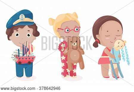 Vector Set Of Cute Little Kids With Toys. Colorful Illustration With Isolated Objects. Children Play