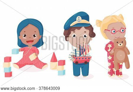 Happy Kids In Colorful Clothes Play Together. Vector Illustration Of Toddler Plays Bricks, Boy In Th