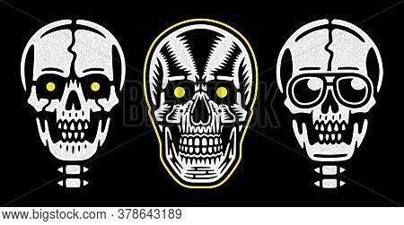 Vintage White Skull. Retro Print For T-shirt. Set Of Skulls.