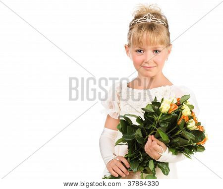 Beautiful Little Girl Wearing Princess Attireholding Flowers Isolated Over White