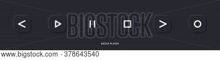 Flat Linear Design. Media Player Icon For Applications, Web Sites And Public Use. Vector Illustratio