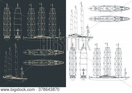 Large Modern Sailing Ship Drawings