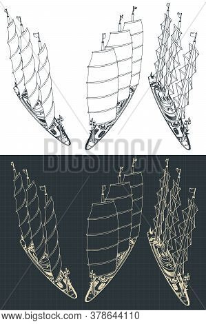 Large Modern Sailing Ship Sketches