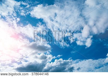 Blue sky background, blue sky landscape panoramic scene. Colorful blue sky view in bright tones, sky nature, sunny sky landscape. Vast sky background. Sky landscape