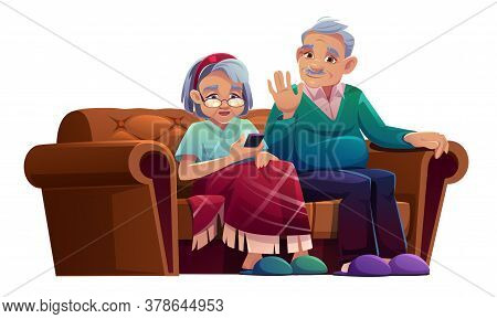 Senior Man And Woman Talking By Mobile Phone Sit On Couch In Nursing Home. Old Lady Wrapped In Plaid