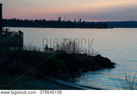 Lake Washington Sunset Landscape Taken From Kirkland With The Seattle Skyline In The Distance.  Beau