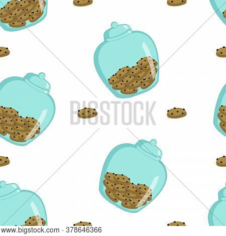A Seamless Pattern With Glass Cookie Jar And Chocolate Chip Cookies. National Pastry Day.