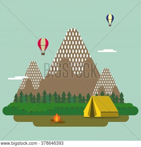An Illustration Of A Camp. Camping Yellow Tent And Camp Fire With Mountains And Trees And Colorful B