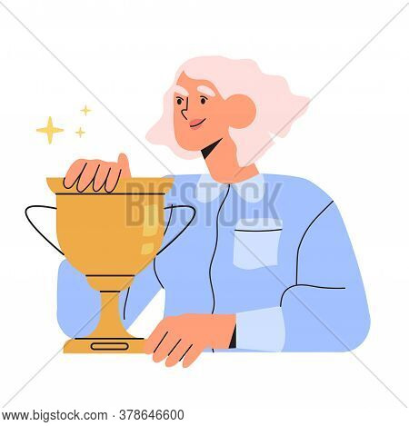 Happy Woman Holds Gold Champion Cup Isolated On White Background In Flat Cartoon Style. Business Wom
