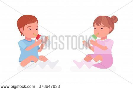 Toddler Child, Little Boy And Girl Drinking From Bottle For Nutrition. Cute Sweet Happy Healthy Baby