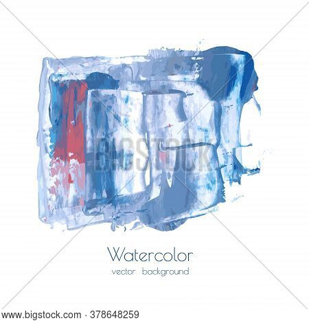 Gray Blue Vector Ink Watercolor Hand Painted Texture Background Isolated On White. Abstract Acrylic