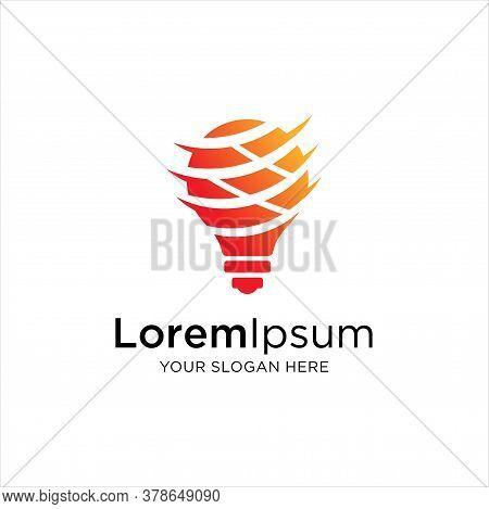 Smart Bulb Tech Logo Icon . Bulb Logo Design Colorfull . Idea Creative Light Bulb Logo . Bulb Digita