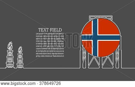Energy And Power Icon. Energy Generation And Heavy Industry. Gas Storage Tank. Horizontal Thin Line