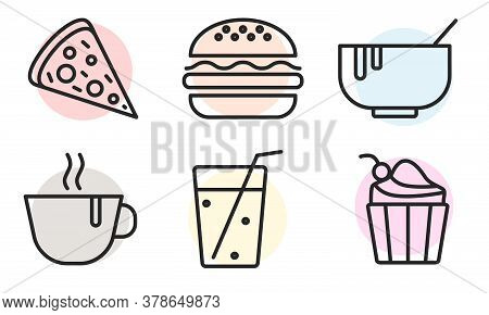 Food Icons Set. Burger, Pizza, Cupcake, Soup, Coffee, Drink. Food Outline Web Icon. Concept Of Lunch
