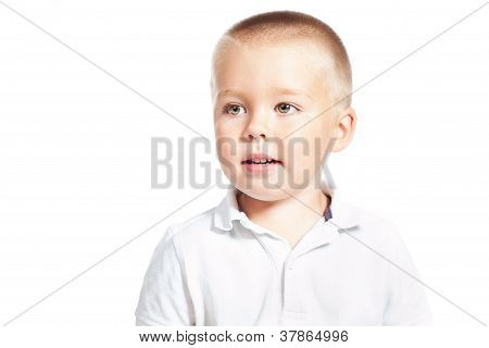 Portrait Of Cute Boy 3-4 Years Old Isolated Over White