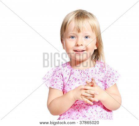 Portrait Of Joyful  Little Girl 3-4 Years Old Isolated Over White