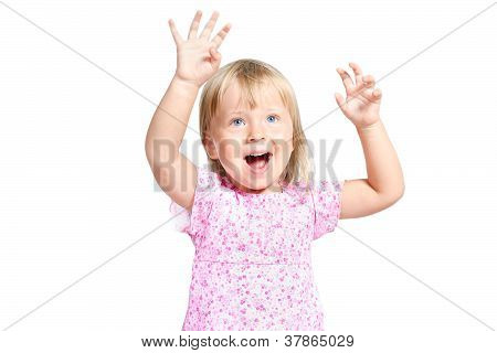 Portrait Of Little Girl With Expression Emotions Isolated Over White