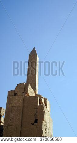 Karnak Temple Luxor Egypt Obelisk Columns With Hierogyphics History Architecture