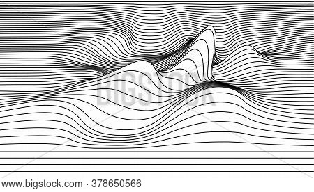 Vector Abstract Lines Illustration. Waves Background With Distortion Effect. Optical Illusion.